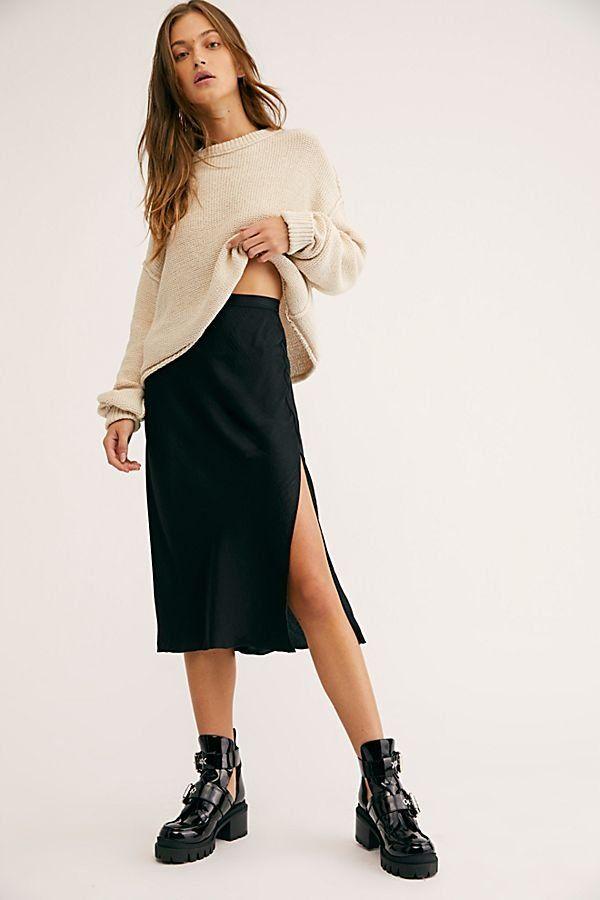 4fb1adbf0d24 Sweet Talker Half-Slip - Black Satin Midi Skirt - Black Skirts - Midi Skirts  - Silk Skirts