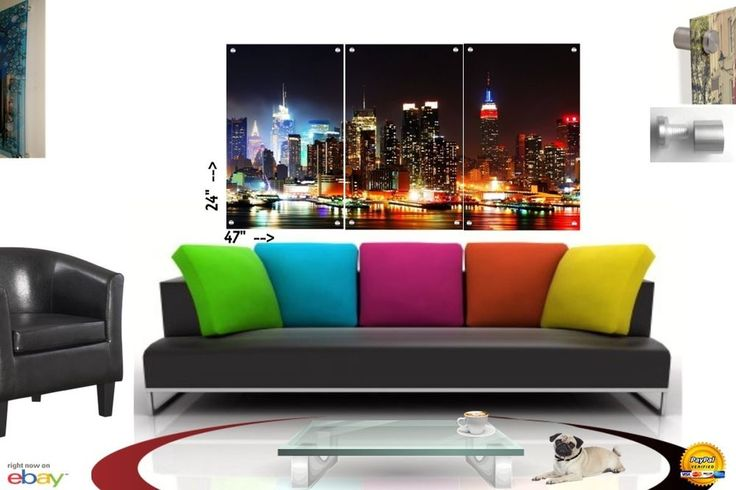 Wall Art in Floating Acrylic Glass Plexiglass Modern Art New York Decor 3 Panel #Modern