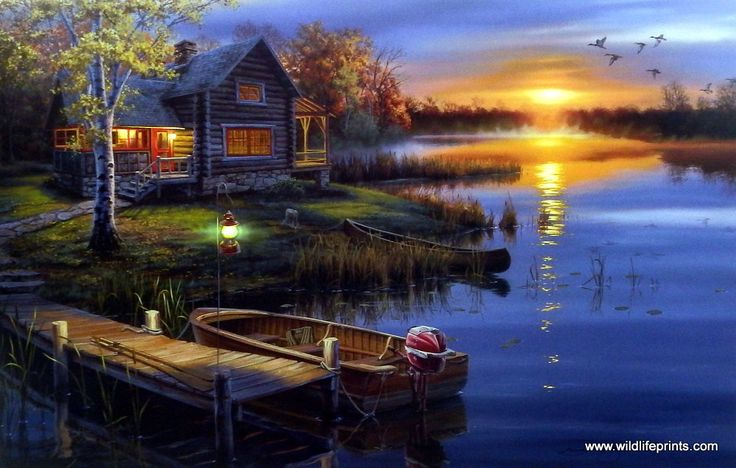 Darrell Bush has captured a gorgeous sunset during the fall season at a peaceful cabin on the lake. The boat sits at the dock ready for some late night fishing. This signed and numbered print comes in