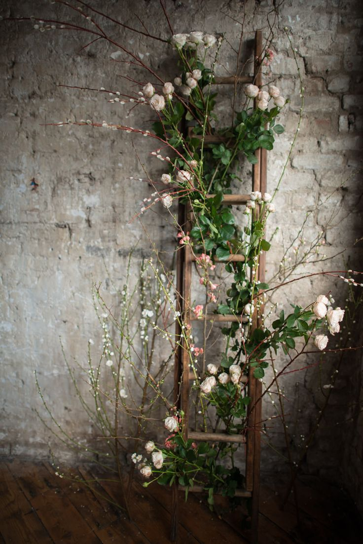 Flower Entwined Rustic Ladder Wedding Decor | Shanna Melville Bridal | Ballet Inspired Shoot | Ballerina Wedding Inspiration | Images From Julie Michaelsen | http://www.rockmywedding.co.uk/ballet-inspired-bridal-looks-big-day/