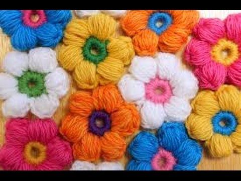 crochet flowers - YouTube