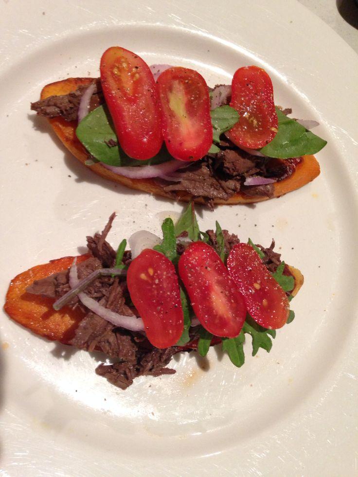 Lamb sliders on sweet potato base