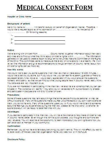 Printable Medical Release Form For Children Authorization For