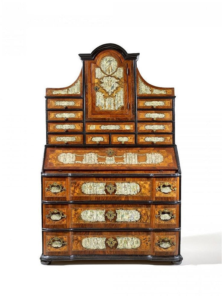 BAROQUE BUREAU CABINET WITH PORTRAIT AND MONOGRAM OF FREDERICK THE GREAT  Presumably Prussia, Ca
