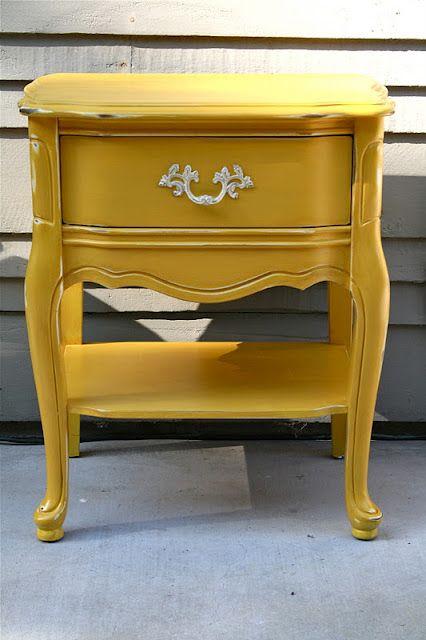 mustard yellow and easy furniture redo