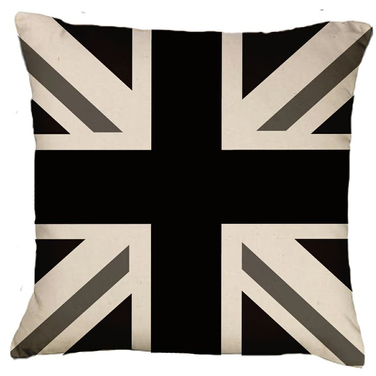 Union Jack Cushion Black White P