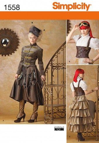 Simplicity - 1558 patroon Victoriaans kostuum | Naaipatronen.nl | zelfmaakmode patroon online