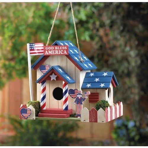Patriotic Birdhouse. This darling birdhouse is filled with patriotic charm, featuring an American flag flying high from the flag pole, stars on the roof, and a red and white picket fence. Two entrances and heart-shaped decorations will make your birds feel right at home in the U.S.A.! | eBay!