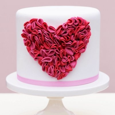 Ideas for Valentine's cake decorating class: Ruffle Heart Cake