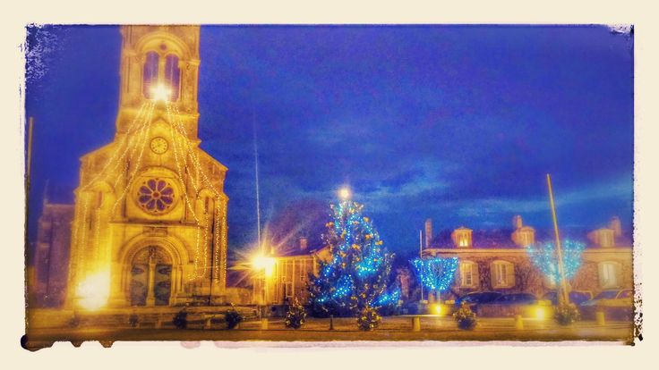 View from Rouge bistrot of our church at Xmas time.