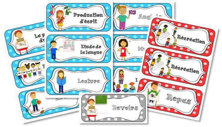 Etiquettes - Programme du jour - Journal de bord d'une instit' débutante