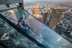 The Skyslide at Skyspace LA in the US Bank Tower in Downtown LA - Photo © 2016 Kayte Deioma, licensed to About.com