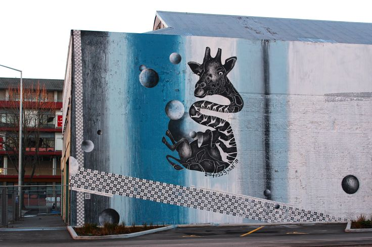 Giraffing Around, a mural I created for the Christchurch, New Zealand rebuild.