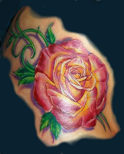 Pink And Yellow Rose Tattoo