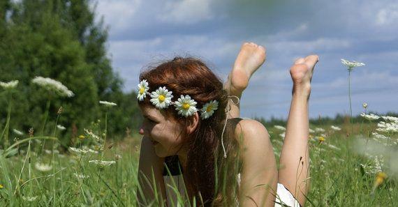 Daisy Crown Daisy Headband Flower White Headband  by DreamBlossoms, $12.95