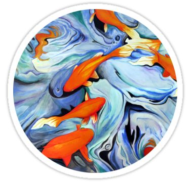 Fire Water Abstract Stickers by AnMGoug on Redbubble. #sticker #art #fish