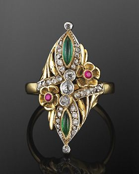 Art Nouveau Jeweled Flower Ring, circa 1895