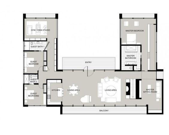 U Shaped Home Plans 9847 best floor plans images on pinterest | house floor plans