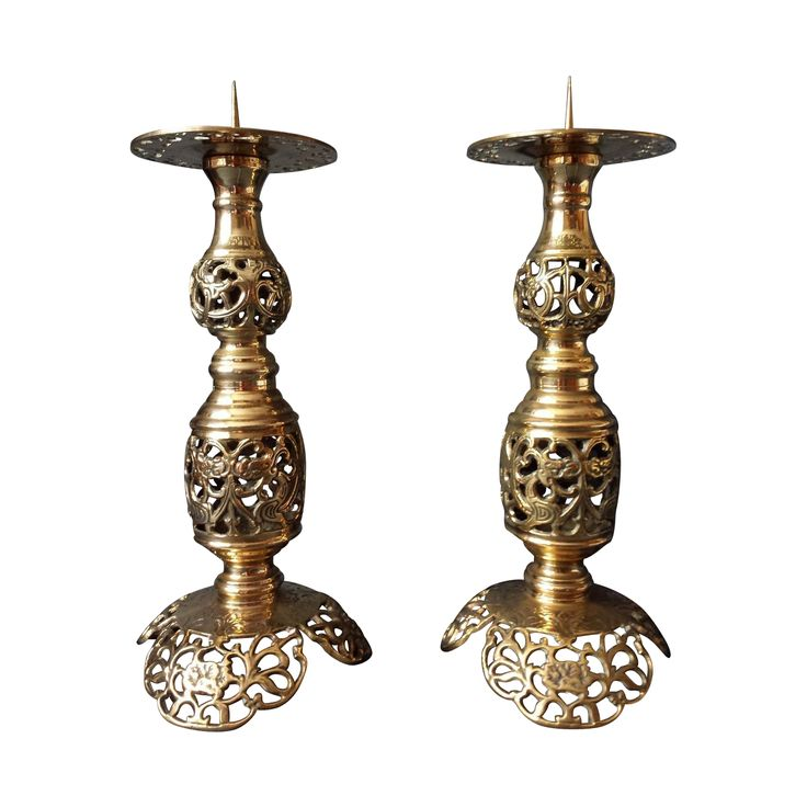 SOLD! For a pair of Rare Bronze Brass pricket candlesticks marked.