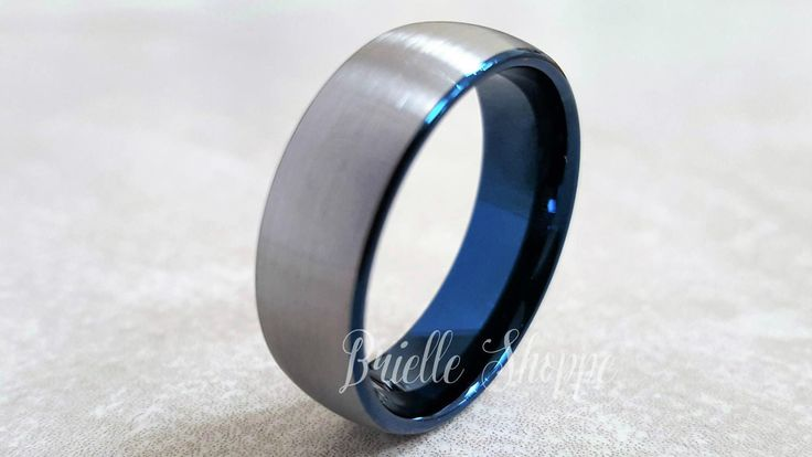 Tungsten Ring, Men's Tungsten Wedding Band, Men's Tungsten Ring, Blue Tungsten Ring, Men's Tungsten, Personalized Engraving, Blue Ring by BrielleShoppe on Etsy https://www.etsy.com/au/listing/506416711/tungsten-ring-mens-tungsten-wedding-band
