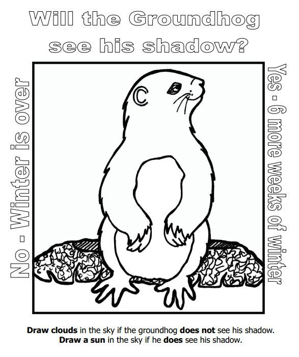 celebrate groundhog day with this coloring page of punxsutawney phil