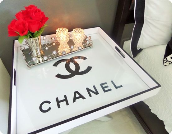 Flea Market Flip Chanel Tray ~ This butler tray was only $3 at a flea market and got a makeover inspired by Chanel!