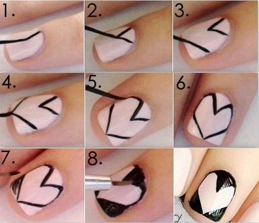 Cute Heart Nail Art Tutorial www.finditforweddings.com Nails