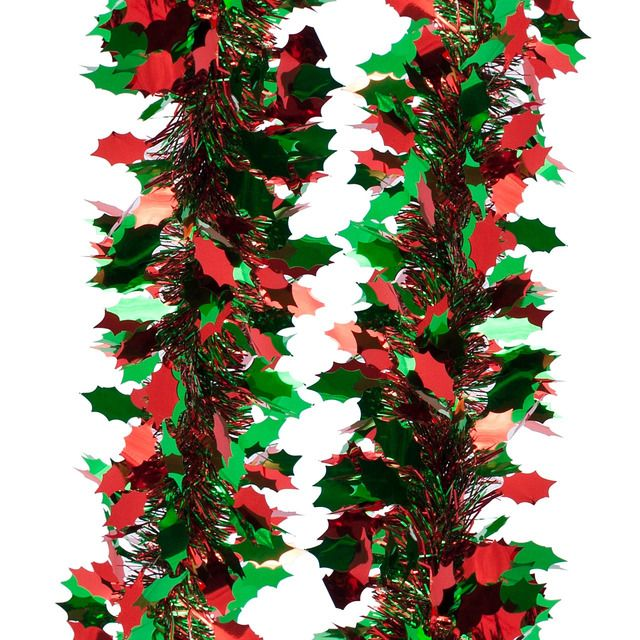 Shiny Holly Leaf Tinsel Red And Green http://www.ocado.com