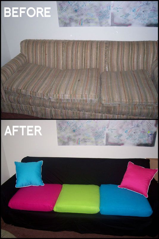 DIY Couch Makeover: use sheet to cover couch and sew slip covers for cushions.