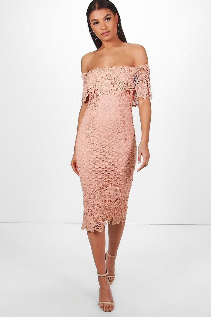 bff2fede9481 Boutique Lace Off Shoulder Midi Dress in 2019 | Evening Wear ...