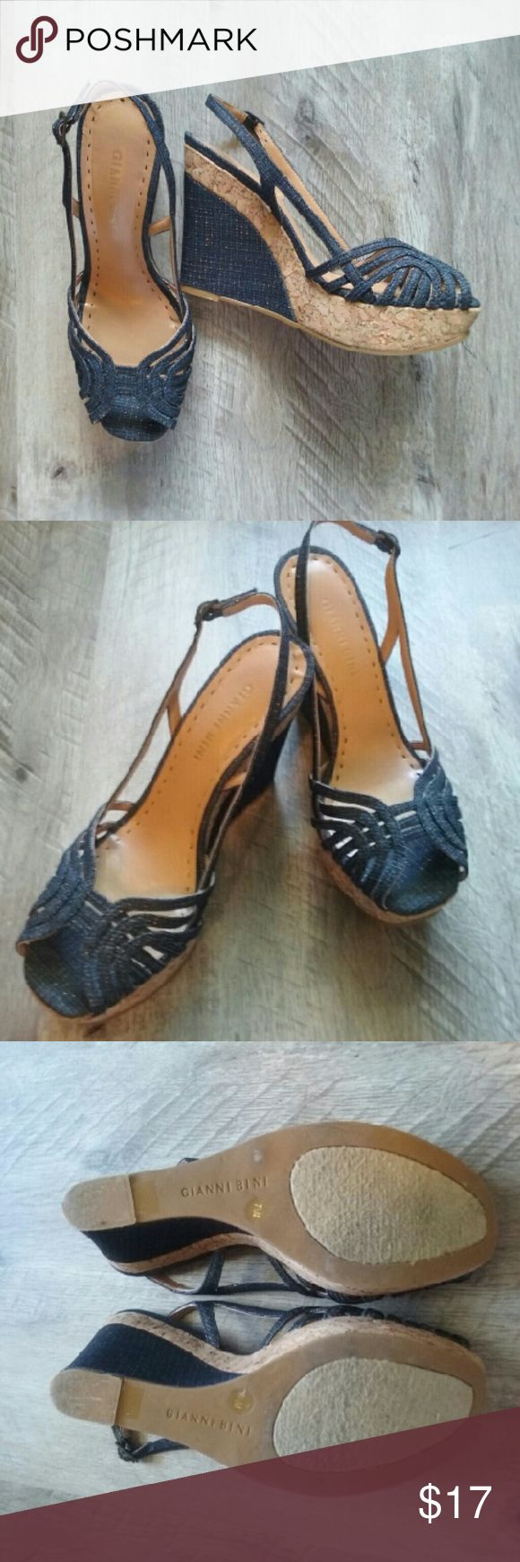 "Gianni Bini denim and gold wedge shoes Strappy wedges in a denim & gold fabric. No signs of wear on uppers; look new! Heel height is 4.5."" Gianni Bini Shoes Wedges"
