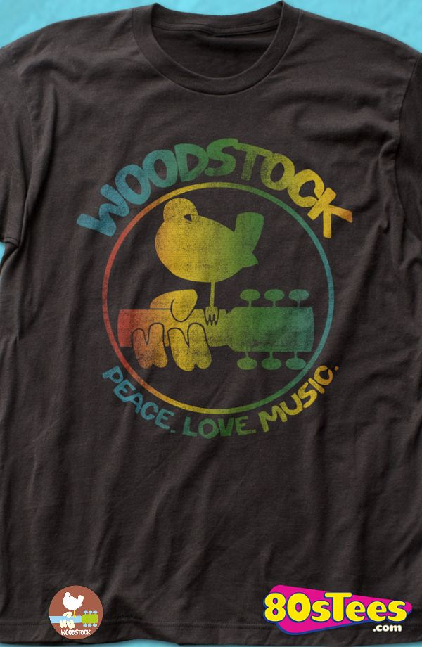 53f365ed Woodstock Logo Geeks: This men's t-shirt design represents the colorful  music festival that was promoted as three days of peace, love and music.