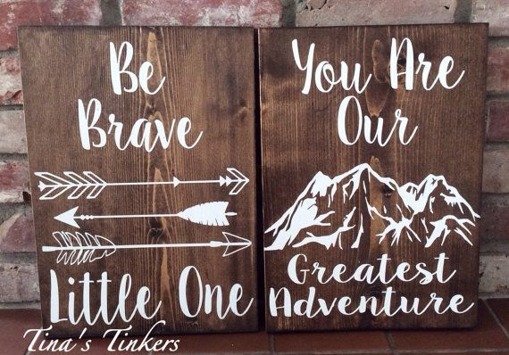 Be brave little one. You are our greatest adventure. Woodland nursery. Set of 2 painted wood signs. Arrows. Mountains. Nursery decor. Tribal #Promotion… #PaidAd #ad #affiliatelink