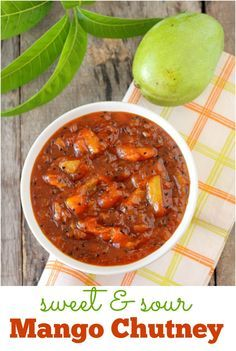 Mango chutney, an easy, authentic Indian sweet and sour mango relish made with green mango. Makes for a great dip or spread. www.sailusfood.com