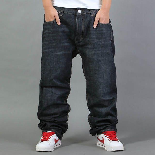 Online Shop Brands Mens Loose Fit Jeans Denim Black Stone