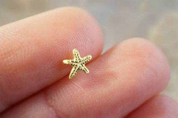 Tiny 14k Gold Starfish Cartilage Earring or by MidnightsMojo