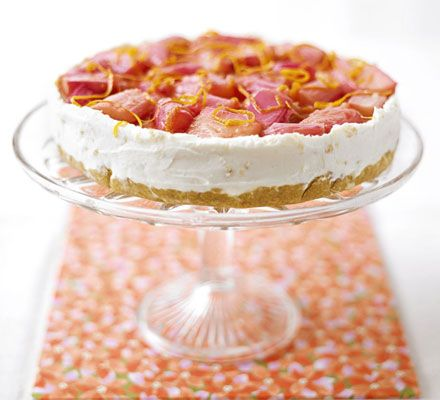 Triple ginger cheesecake topped with stewed rhubarb… Maybe with some dark chocolate curls on top?