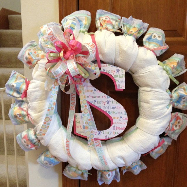 diaper wreath baby shower new baby gift ideas pinterest