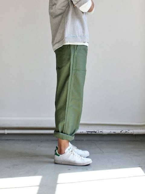Everyday style - love the length and colour of these fatigues with the grey crewneck sweater, stan smiths