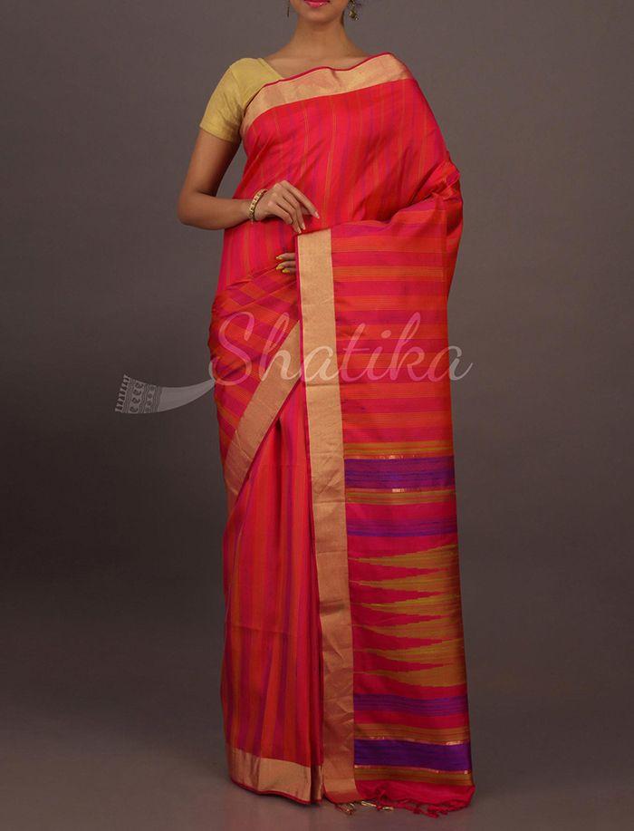 Neera Fine And Thick Colorful Stripes Smart Pure #UppadaSoftSilkSaree