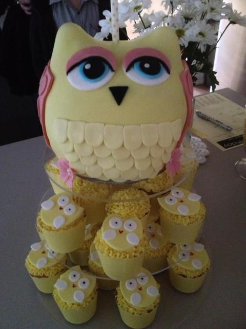 Adorable owl cake and cupcakes!  See more party ideas at CatchMyParty.com!