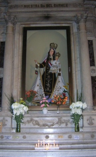 Our Lady of Mount Carmel, patroness of Chile, Church of San Francisco, Santiago, Chile.