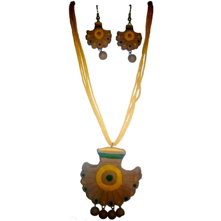 Clay Jewelry from KrishnanagarHandicraft ProductNew DesignStylish - SemicircularBurnt Clay - Naturalcolour