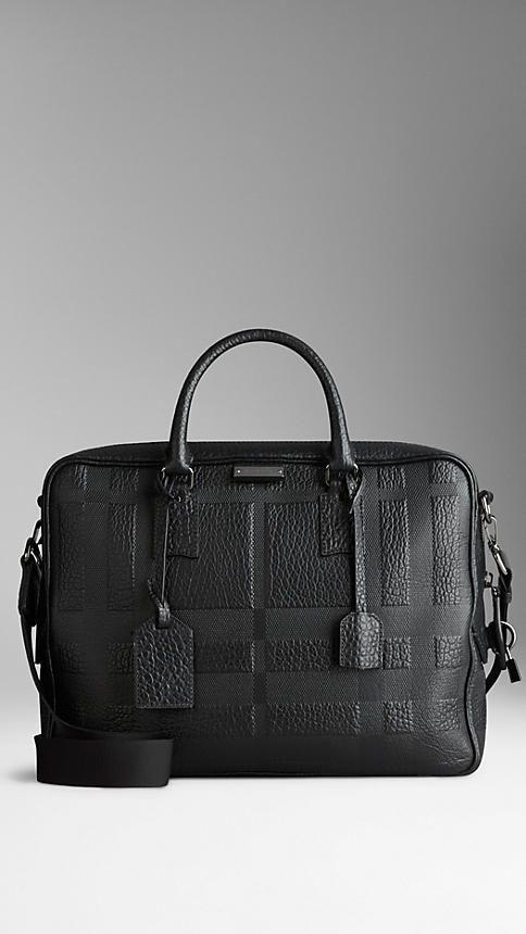 Noir Attaché-case en cuir gravé de check en relief - Image 1