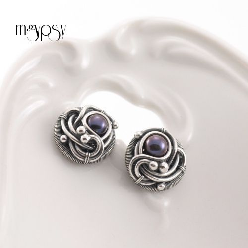 Sterling, Fine Silver and Pearl Post Earrings