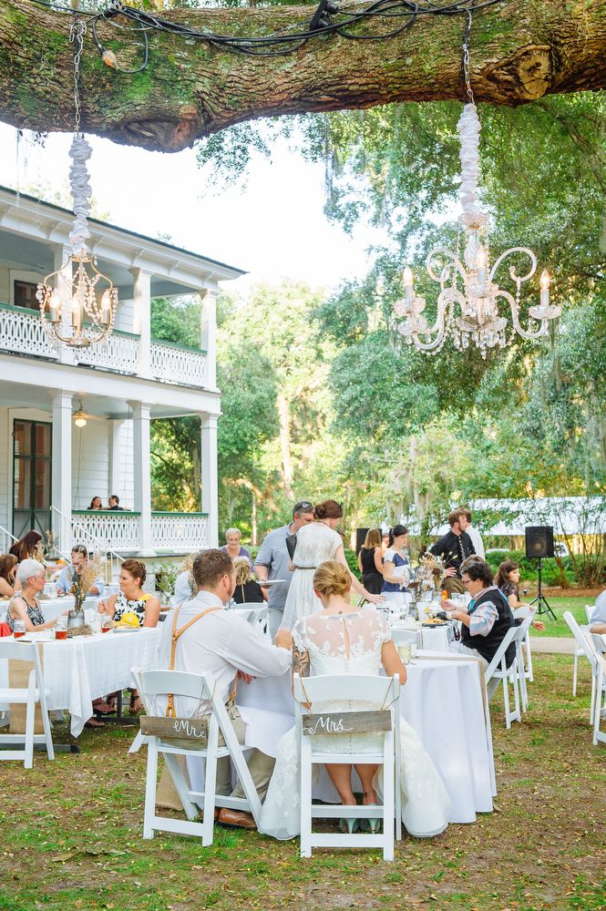 Tabitha & Brian: Richfield Plantation {Charleston Wedding Photographer}. Priscilla Thomas Photography. Outdoor wedding reception with chandeliers hanging from an oak tree.