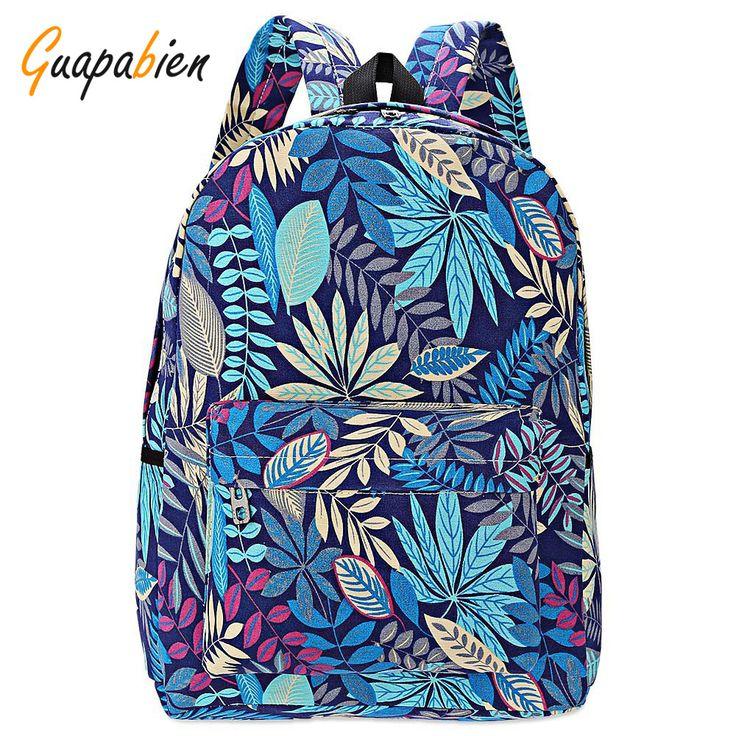 Guapabien 2016 fashion canvas bags retro casual school bag travel bags women backpacks printing leaves backpack mochila rucksack