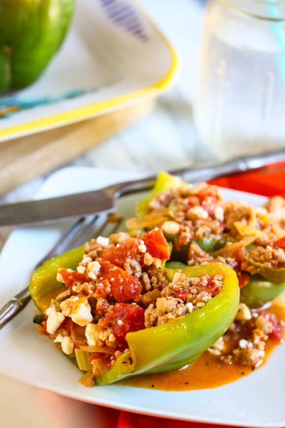 Turkey and Feta Stuffed Peppers. I just made these and they were soo ...