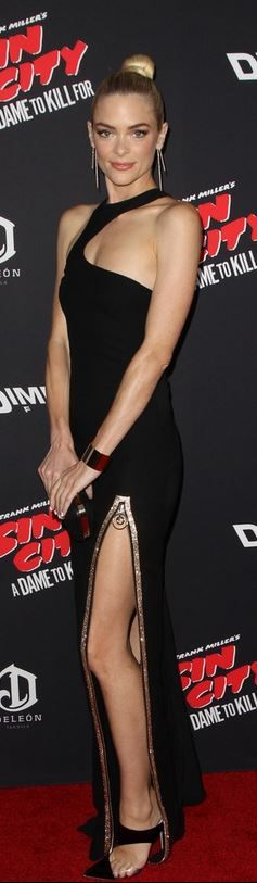 Jaime King in Versace black one shoulder gown, Monique Lhullier pumps, and Jennifer Fischer jewelry
