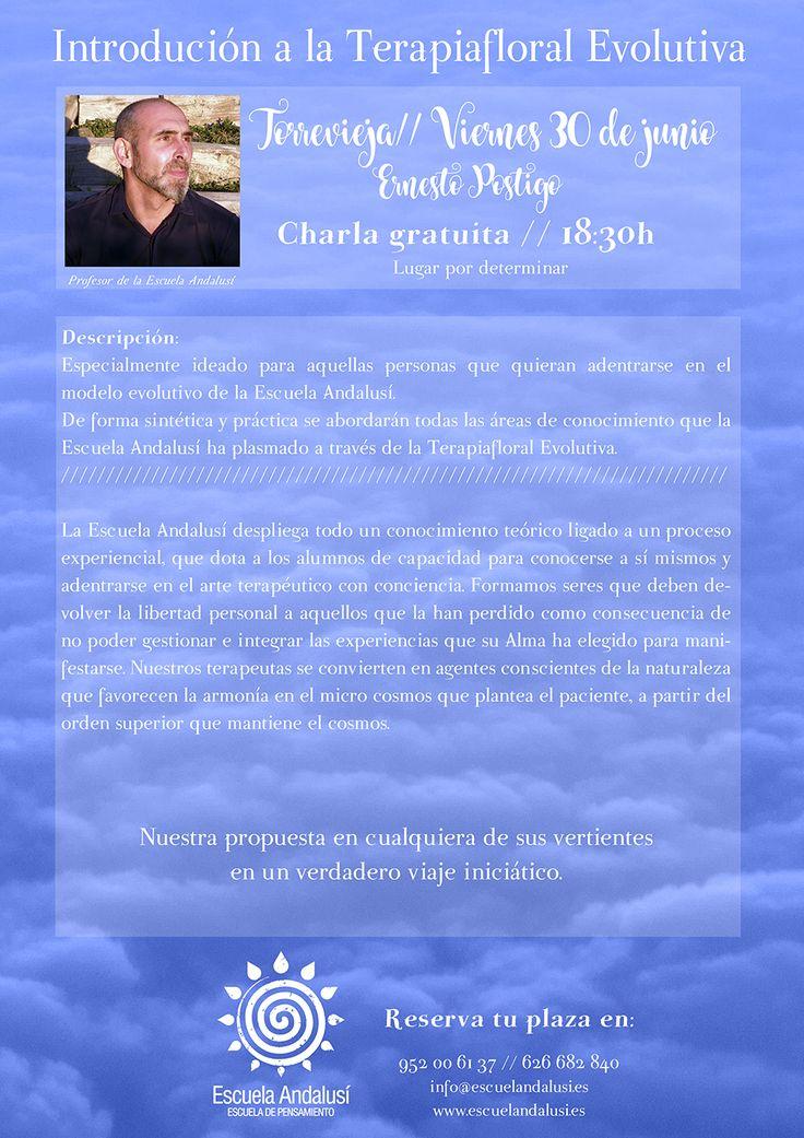 Ernesto Postigo estará en Torrevieja, presentando la Terapiafloral Evolutiva, basada en el modelo de la Escuela Andalusí. 30 de junio a las 18:30 horas.